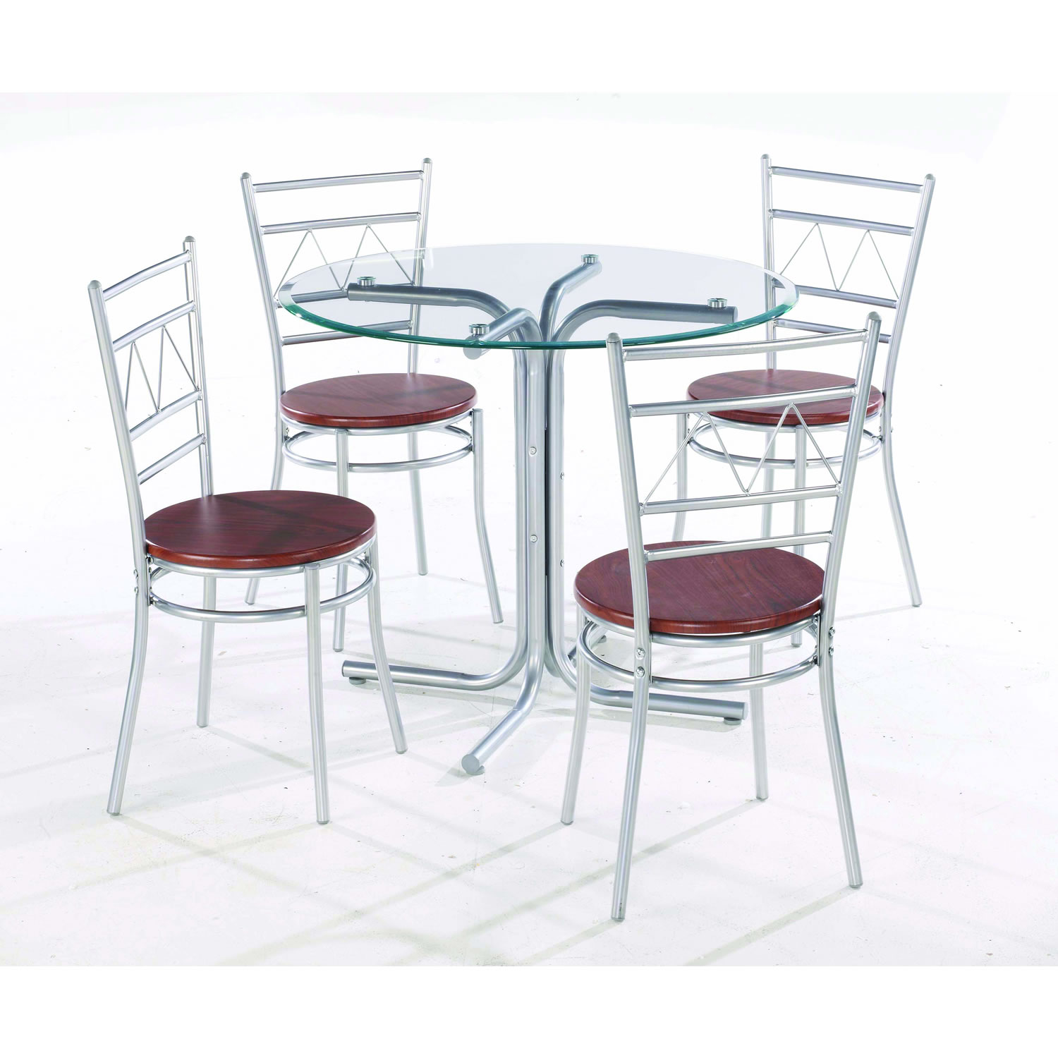 Steel Chair Soft Seat Dinnig Modern Glass Table