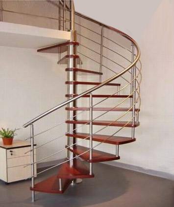 Wooden Step Spiral SS Round Bluster Steel Stair Railing